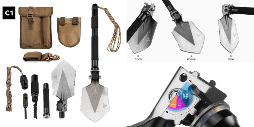 FiveJoy Military Folding Shovel Multitool (C1)