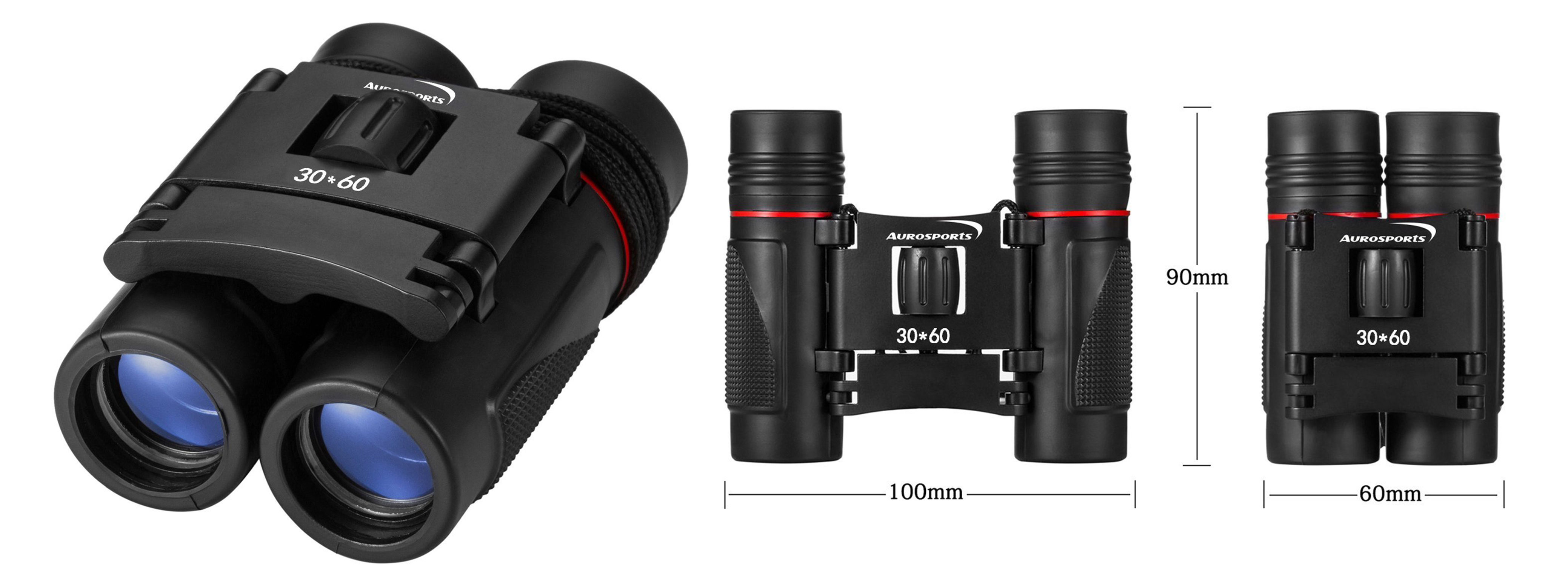 Aurosports 30x60 Folding Binoculars Telescope with Low Light Night Vision