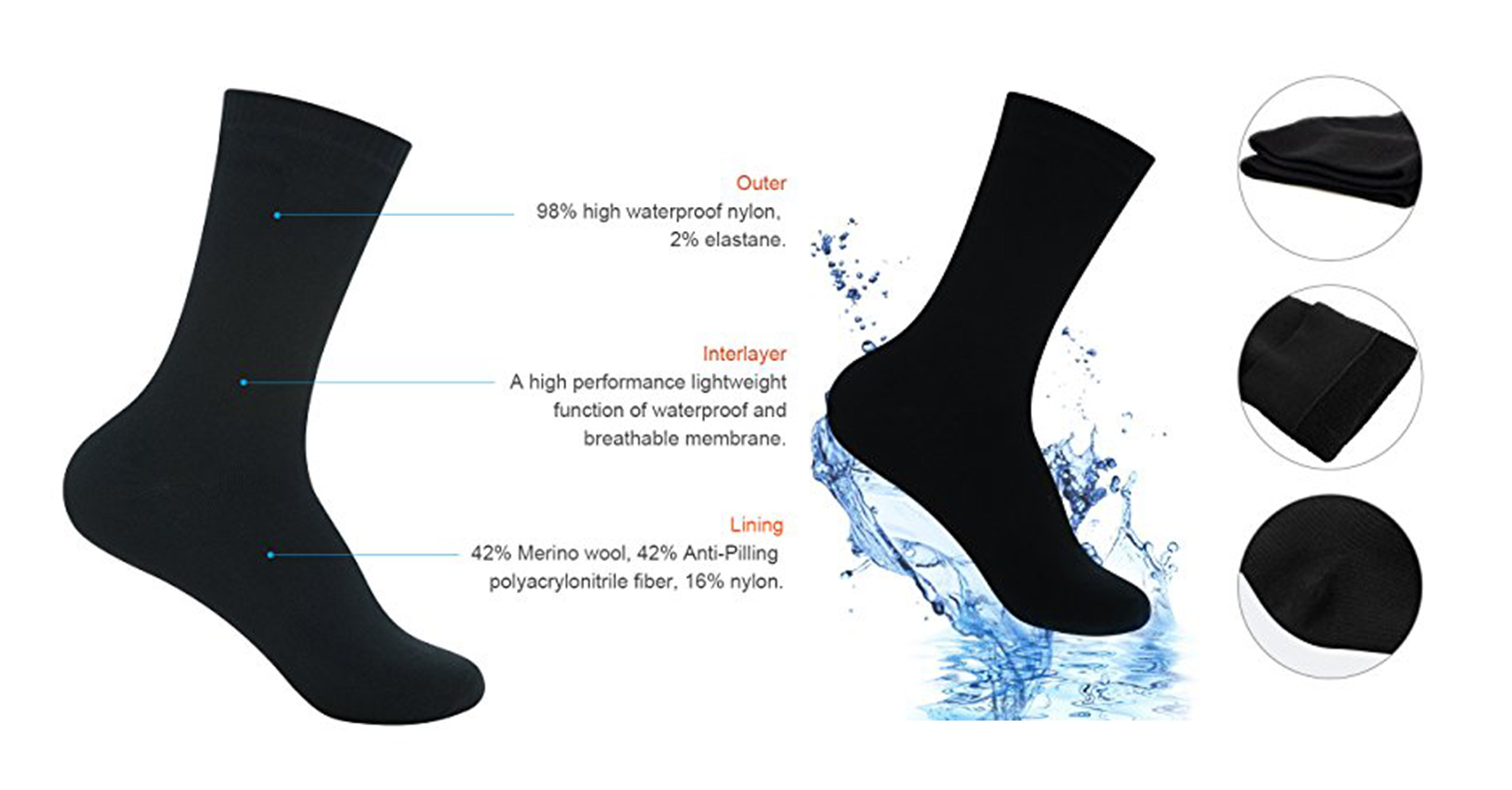 Rgusen Waterproof Socks, Unisex Mid-Calf and Ankle Waterproof & Highly Breathable Athletic/Hiking/Trekking/Ski Socks