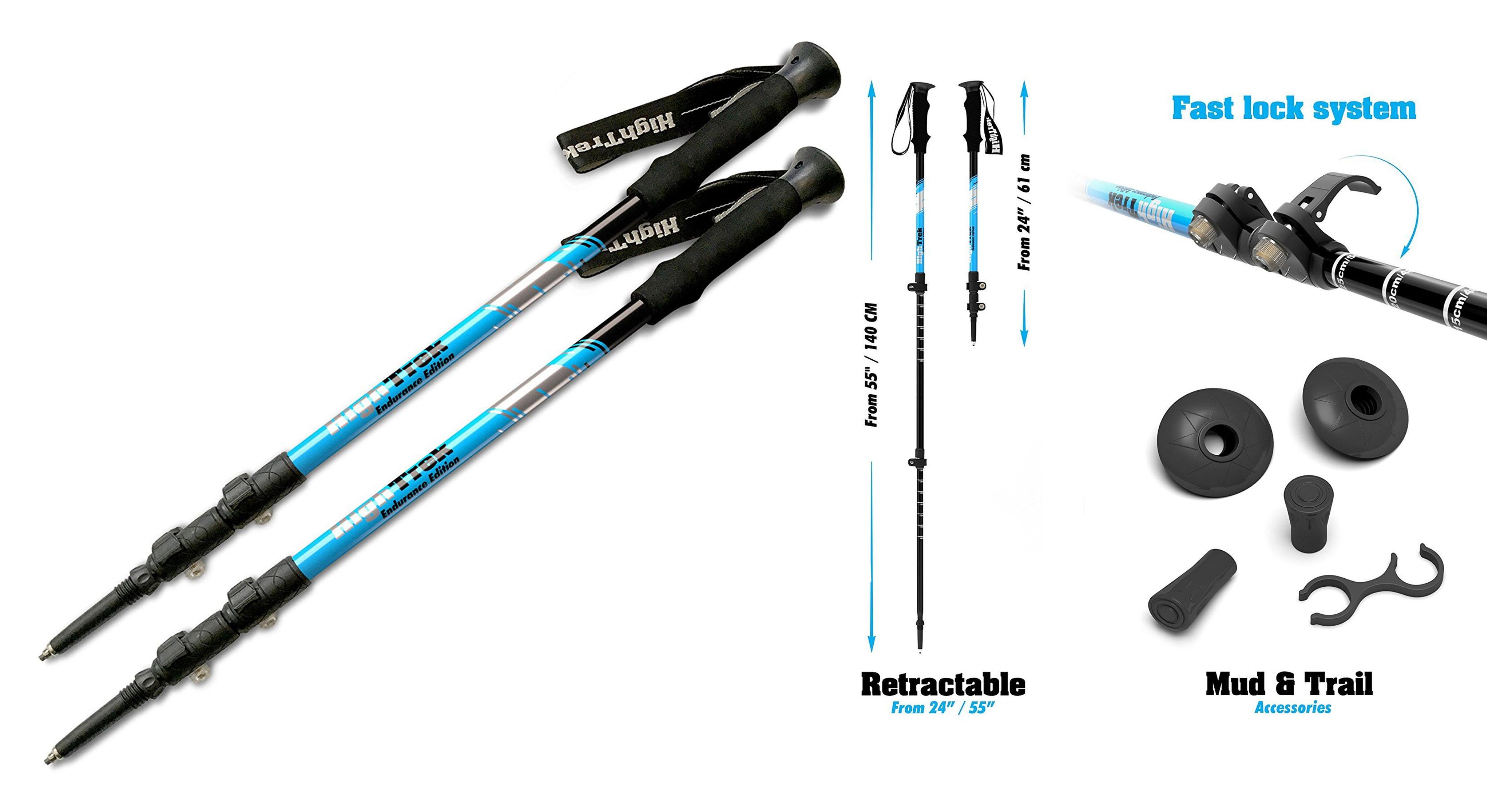 High Trek Premium Ultralight Trekking Poles with Sweat-Absorbing - EVA Grips