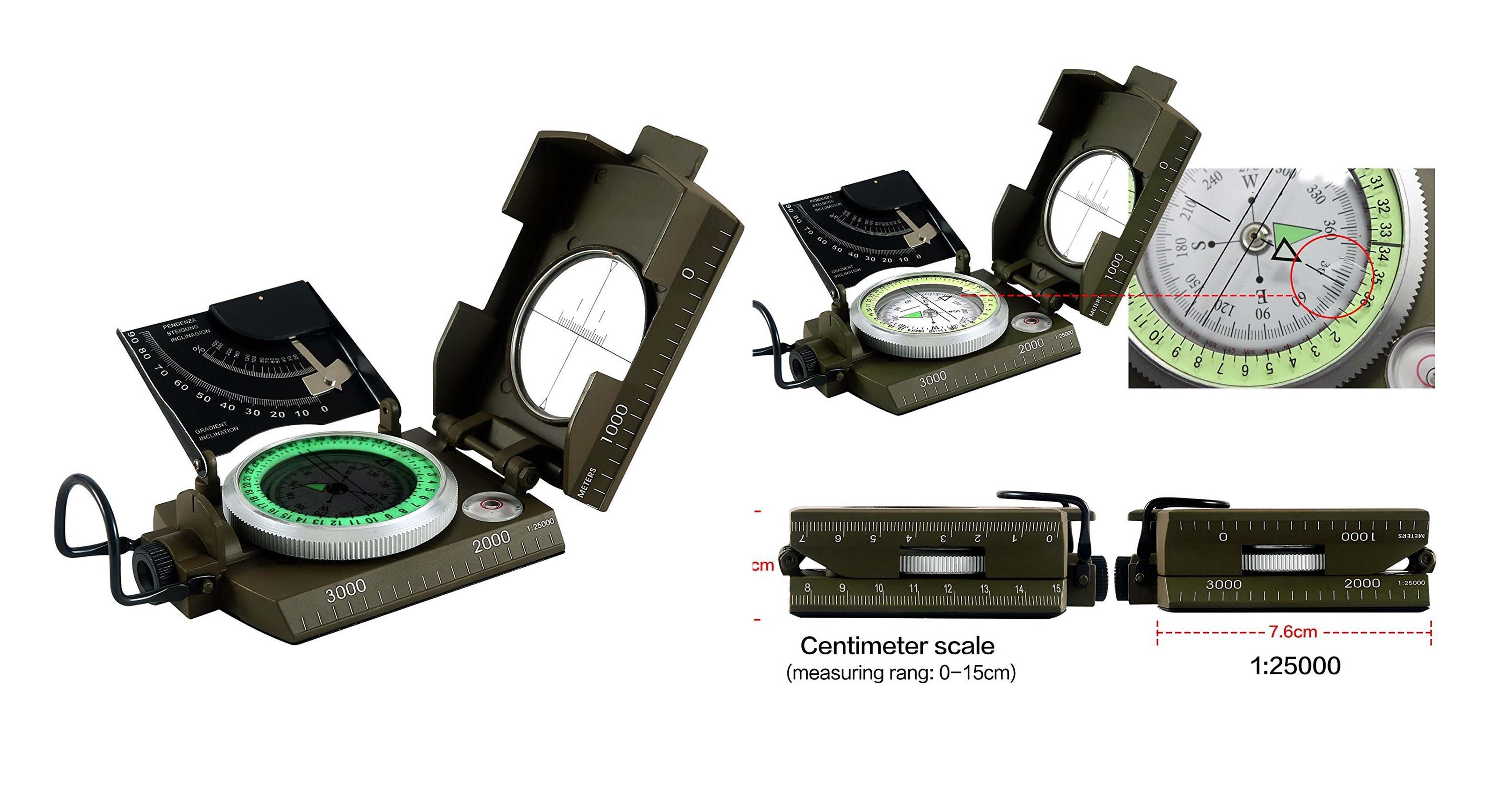 Eyeskey Waterproof Multifunctional Military Metal Sighting Compass with Inclinometer