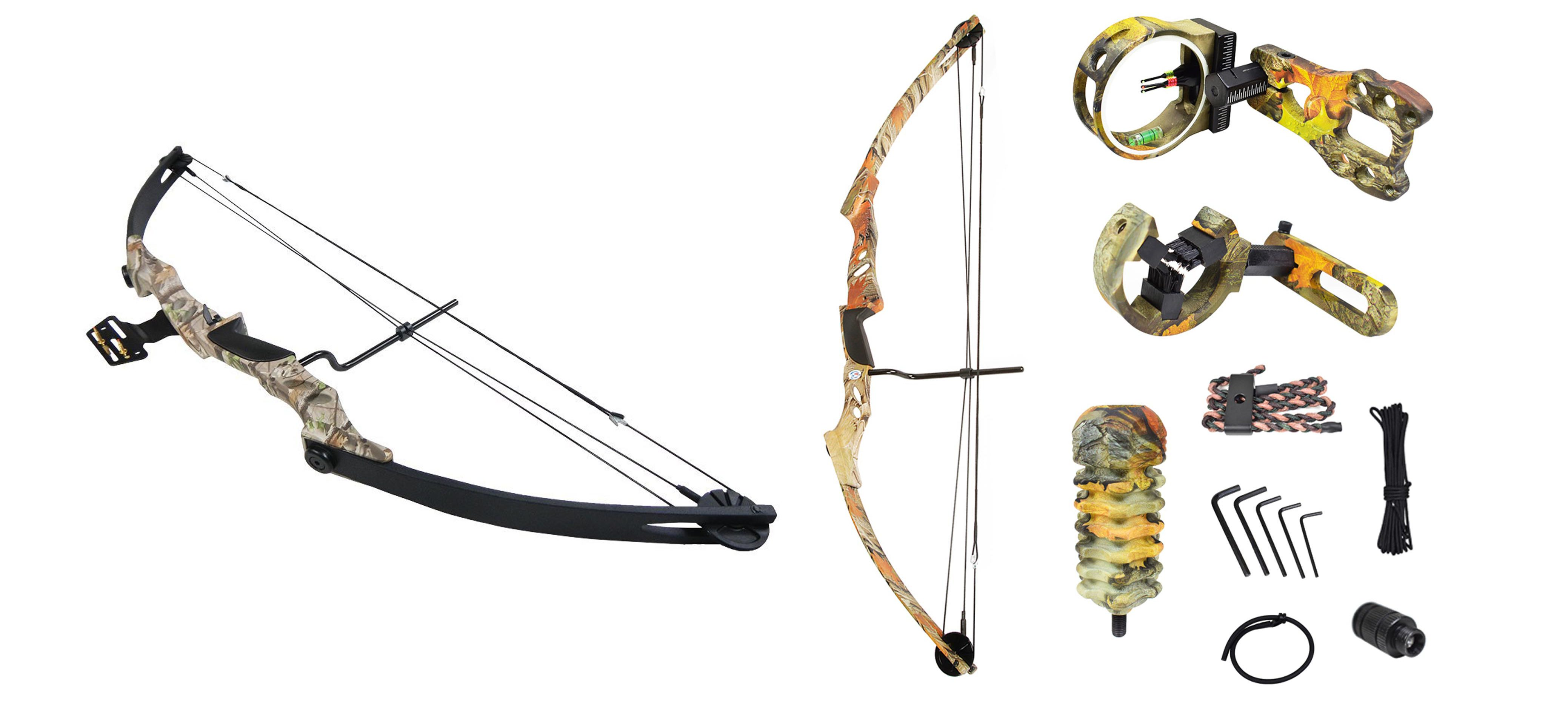 iGlow 55lb Black/Sliver/Camouflage Camo Archery Hunting Compound Bow